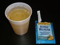 Emergen-C vitamin drink mix in water after