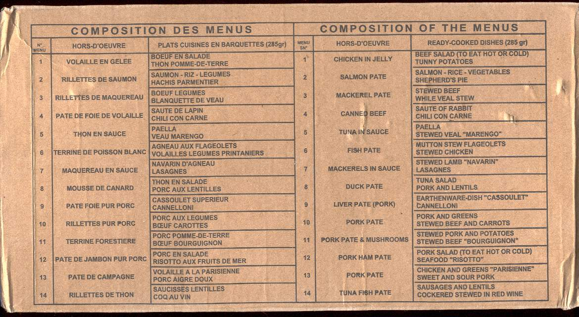 French rcir mre info for French canape menu