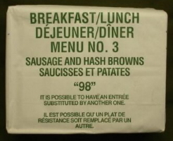 1998 breakfast/lunch menu 3 sausage and hashbrowns