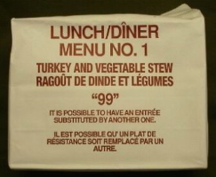 Canadian IMP 1999 lunch menu 1 turkey and vegetable stew