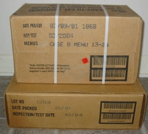 Date codes on cases of U.S. MREs (Meals, Ready to Eat).