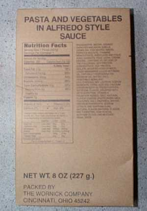 1999 MRE #14 - Pasta w/ Vegetables in Tomato Sauce Entree