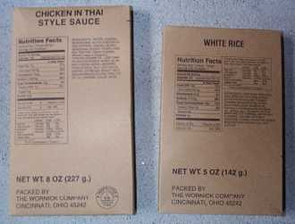 1999 MRE Menu # 16 - Chicken w/ Thai Sauce - entree and side dish of white rice