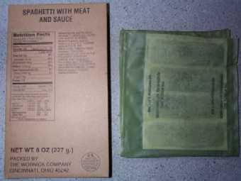1999 MRE Menu #20 - Spaghetti w/Meat Sauce - main entree and flameless ration heater