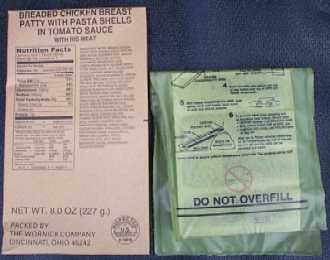 1999 MRE Menu #23 - Chicken w/Cavatelli Meal entree and flameless ration heater