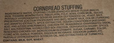 MRE, Cornbread Stuffing Ingredients