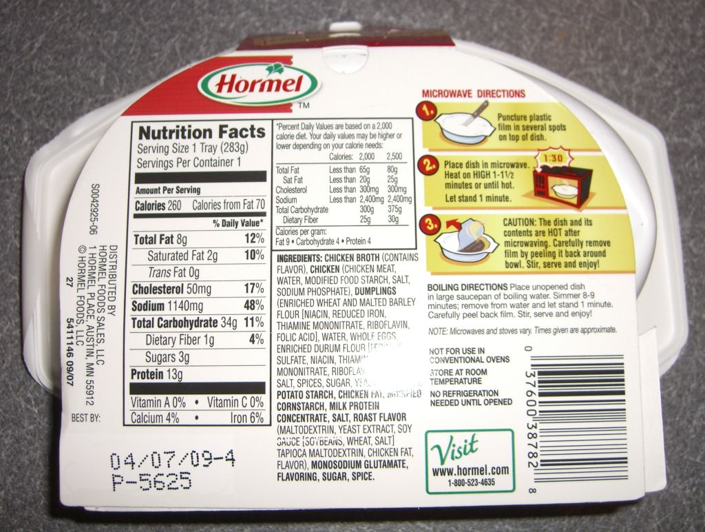 Hormel Chicken Dumplings Mre Info
