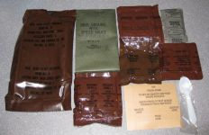 1986 MRE #12 - Ground Beef with Spiced Sauce and Contents