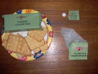 Russian Ration crackers, vitamin pill, and hand wipe