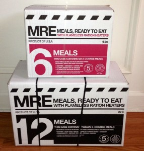 Meal Kit Supply 6-pack compare to 12-case of MREs