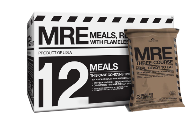 Meal Kit Supply case of 12-pack 3 course meal with heaters and MRE