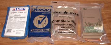 MREs of Apack, Eversafe, MRE Star and Sure-Pak