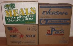 Cases of Sure-Pak, EverSafe, MRE Star and Ameriqual