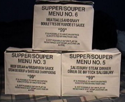 Older Canadian IMPs, Supper Menu 6, Supper Menu 3 and Supper Menu 5