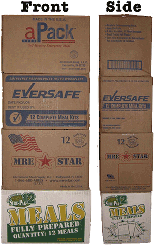 Front/Side of Ameriqual, EverSafe, MREStar and SurePak Cases